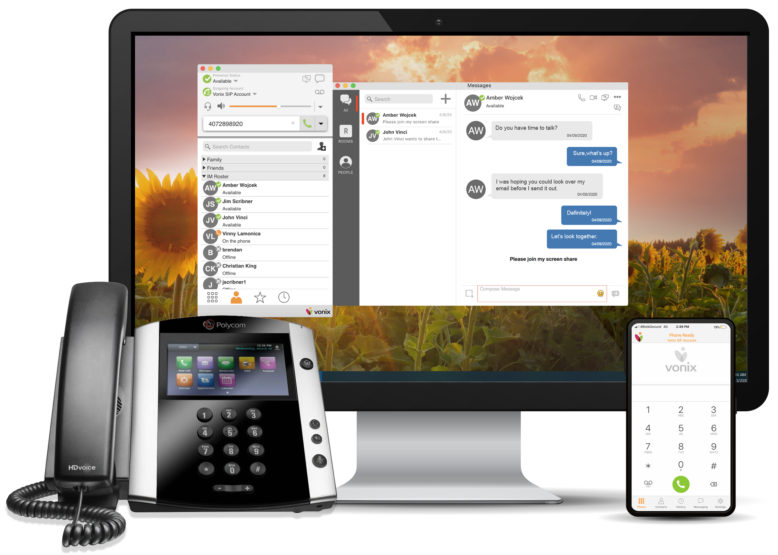 Desktop, Mobile App, and Polycom Phone